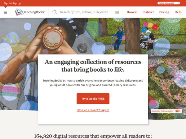 TeachingBooks homepage screenshot